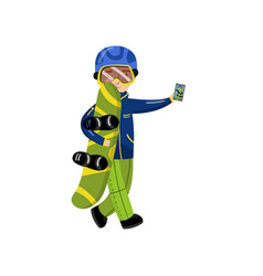 boy with snowboard making selfie photo cartoon vector image