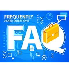 Bright faq and work suitcase on blue backgro vector