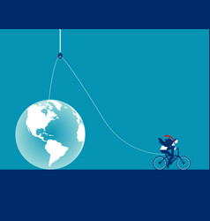 Businessman lifting globe on pulley rope concept vector