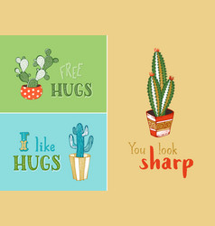 cacti succulents and hand-written phrases vector image
