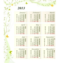 Calendar for the year 2013 vector image
