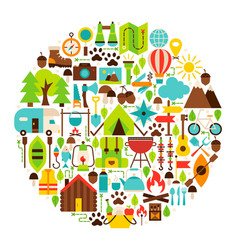 Camping flat objects circle vector