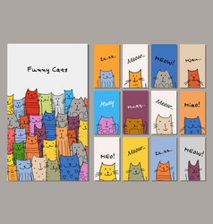cards design funny cats family vector image