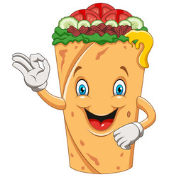 cartoon burrito or kebab giving ok sign vector image