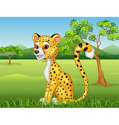 Cartoon funny Cheetah in the jungle vector
