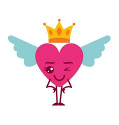 Cartoon heart in love wink kawaii wings and crown vector