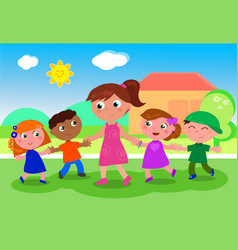 Cartoon woman with group of kids vector