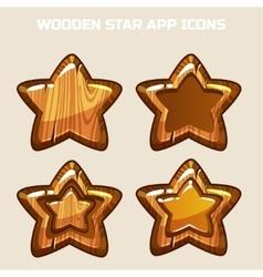 Cartoon wooden Stars in different threads vector