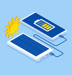 charging smartphone phone from solar battery vector image