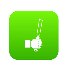 chisel tool in man hend icon digital green vector image
