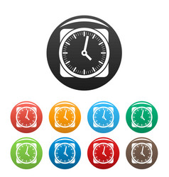 clock retro icons set color vector image