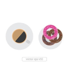 coffee cup and donuts flat vector image