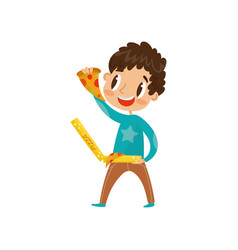cute boy eating pizza on a vector image