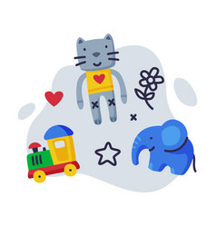 cute cat elephant and train batoys set kids vector image