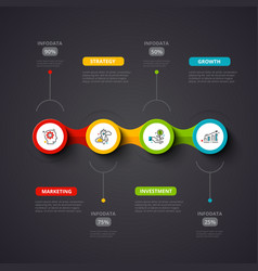 dark infographic design template business vector image