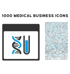 DNA Analysis Calendar Page Icon With 1000 Medical vector
