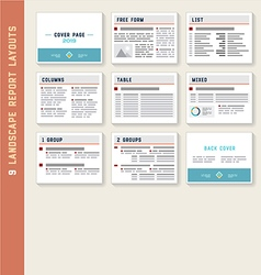 Document Report Layout Templates Mockup Set vector