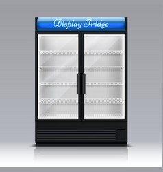 Empty freezer for beverages with glass door vector