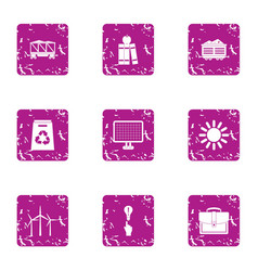 Energy conveyance icons set grunge style vector