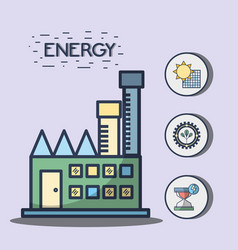 factory with solar energy and trees hourglass vector image