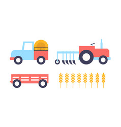 farm farming equipment wheat vector image