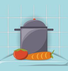 flat kitchen utensils and vegetables vector image