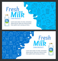 fresh milk banner horizontal set with realistic vector image