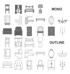 Furniture and interior monochrom icons in set vector