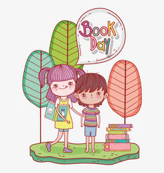 girl and boy read books information vector image