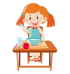 Girl on dining table eating vector