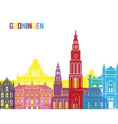 Groningen skyline pop vector image