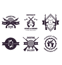 Guns vintage logos with rifles revolver pistols vector