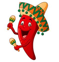 happy chili cartoon playing maracas vector image