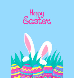 Happy easter paschal eggs white rabbit with paws vector
