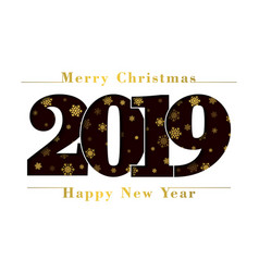 Happy new year merry christmas card black number vector