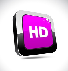 HD 3d square button vector