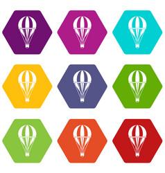 hot air striped balloon icon set color hexahedron vector image