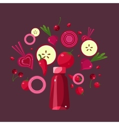 Ingredients For Red Smoothie vector