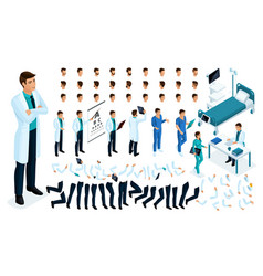 isometric constructor of a doctor surgeon vector image