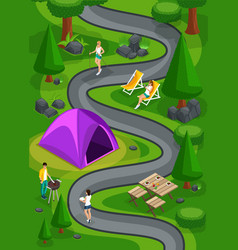 Isometric landscape of camping for game friends vector