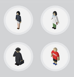 Isometric people set of doctor guy detective and vector