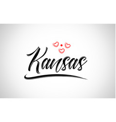 Kansas city design typography with red heart icon vector