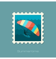 Kite boarding Kitesurfing stamp Vacation vector image