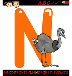 letter n for nandu cartoon vector image