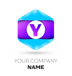 Letter y logo symbol in colorful hexagonal vector