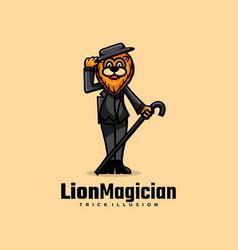 Logo lion magician simple mascot style vector