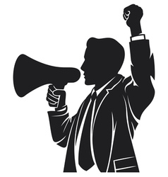 Man speaking in megaphone vector