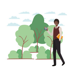 Man with access ticket and book in landscape vector