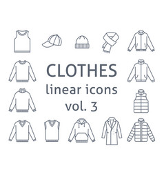 men clothes simple flat line icons vector image