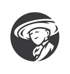 Mexican man in sombrero simple silhouette vector